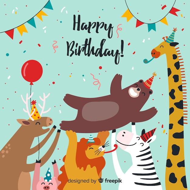 Hand drawn birthday animal background Free Vector