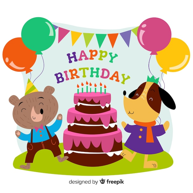 Hand drawn birthday animal background Free Vector
