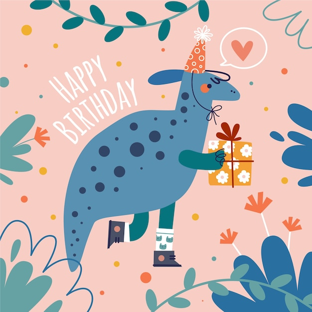 Hand drawn birthday background and dinosaur Free Vector