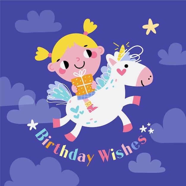 Disegnato a mano compleanno sfondo e unicorno Vettore gratuito