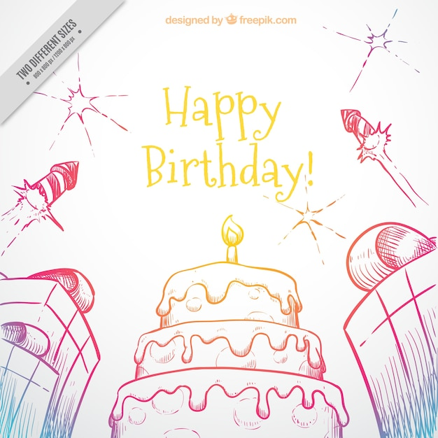 Hand-drawn birthday background with cake and gifts Vector  Free ...