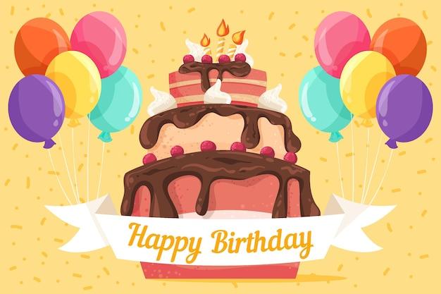Ручной обращается день рождения фон с тортом Бесплатные векторы