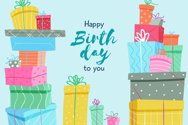 Hand drawn birthday background with gifts Free Vector