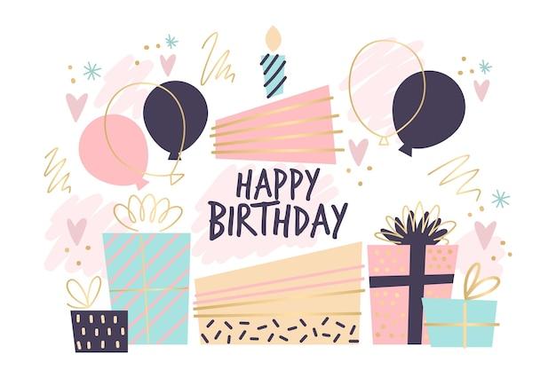 Ручной обращается день рождения фон Premium векторы