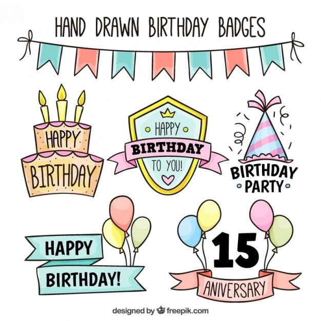 Hand drawn birthday badges