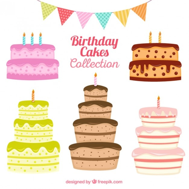 Hand drawn birthday cake collection Vector Free Download