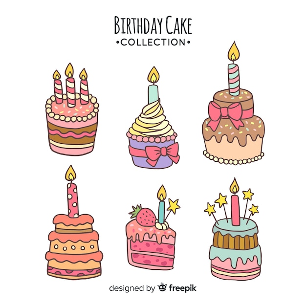 Marvelous Hand Drawn Birthday Cake Collection Free Vector Birthday Cards Printable Trancafe Filternl
