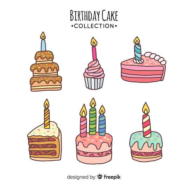 Stupendous Hand Drawn Birthday Cake Collection Free Vector Birthday Cards Printable Trancafe Filternl