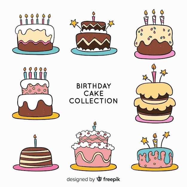 Astonishing Hand Drawn Birthday Cake Collection Free Vector Birthday Cards Printable Trancafe Filternl
