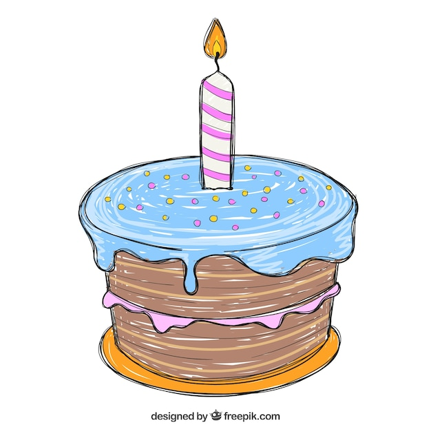 hand drawn birthday cake vector free download rh freepik com birthday cake vector ai vector birthday cake