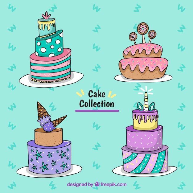 Hand drawn birthday cakes Vector Free Download