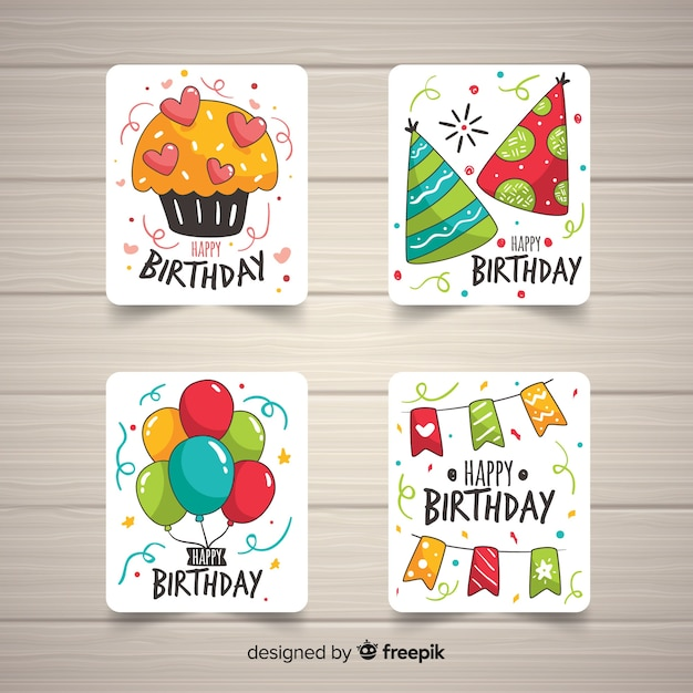 Hand drawn birthday card collection Free Vector