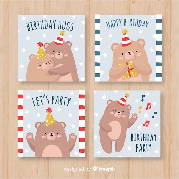 Hand drawn birthday card set with bears Free Vector