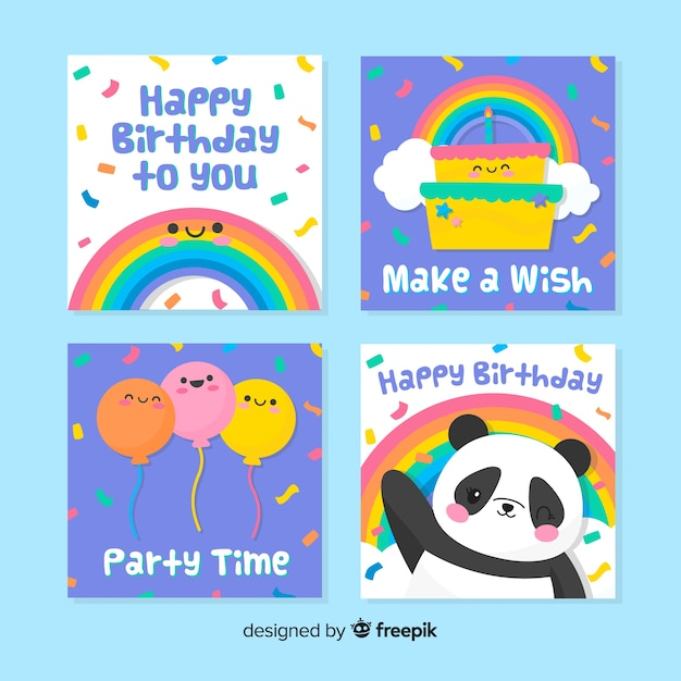 Hand drawn birthday card set Free Vector