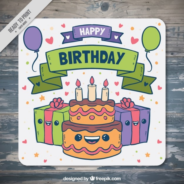 Hand drawn birthday card with cake and gifts Vector Free Download