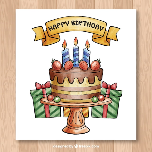 Hand drawn birthday card with cake Vector Free Download