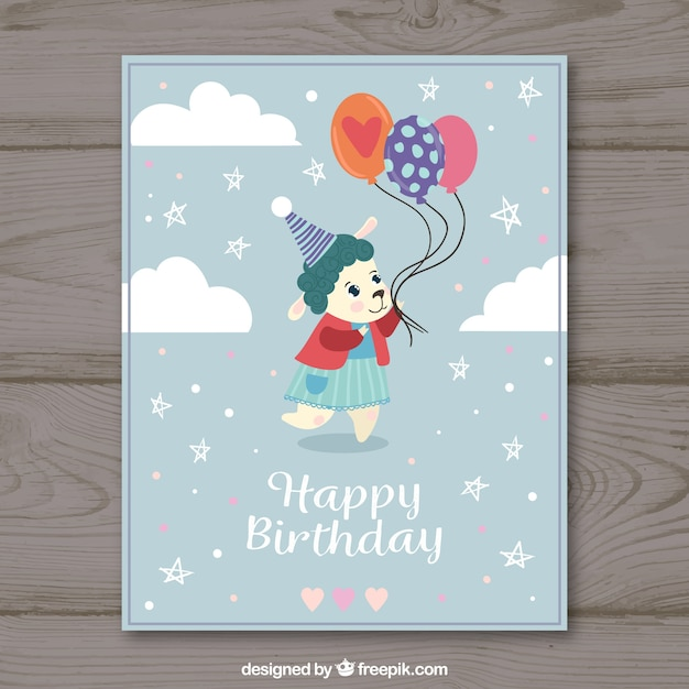 Hand Drawn Birthday Card With Cute Animal Vector Free Download