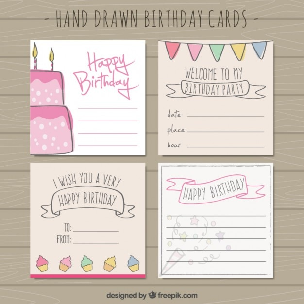 Hand Drawn Birthday Cards Vector Free Download