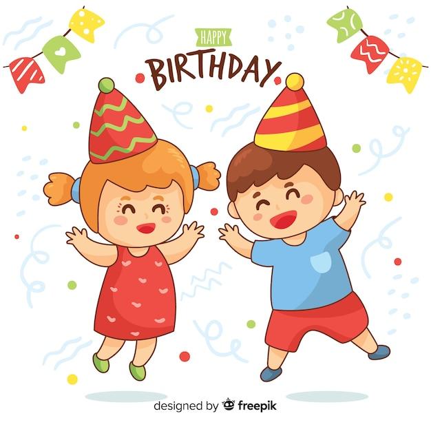 Hand Drawn Birthday Children Vector