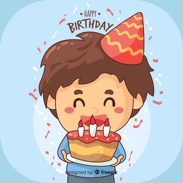 Hand drawn birthday children Free Vector