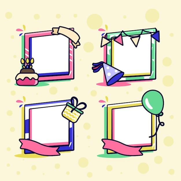 Collezione di frame collage compleanno disegnati a mano Vettore gratuito