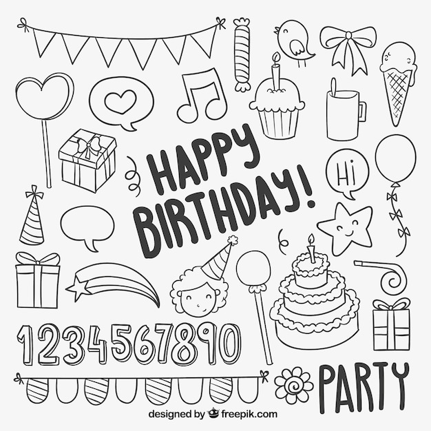 Hand drawn birthday elements Vector Premium Download