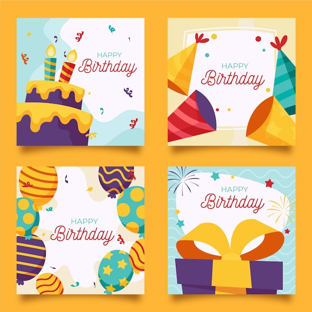 Hand drawn birthday greeting card collection Free Vector