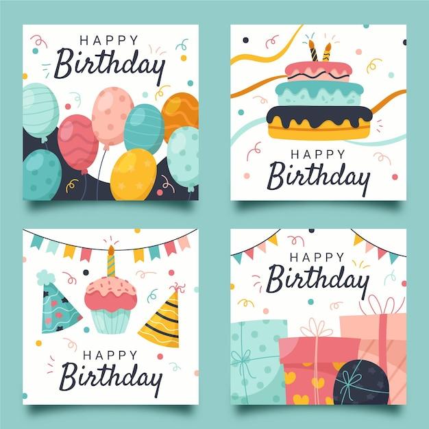Collezione di biglietti di auguri di compleanno disegnati a mano Vettore gratuito
