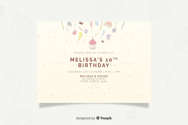 Hand drawn birthday invitation template Free Vector