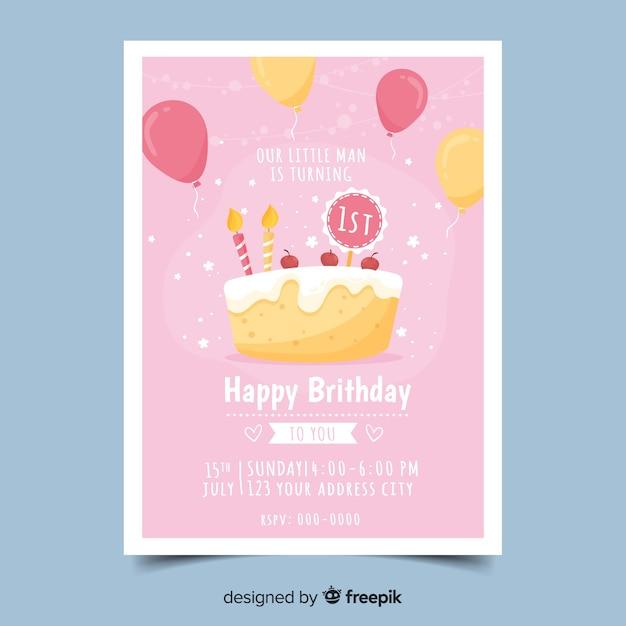 Hand drawn birthday invitation template Free Vector