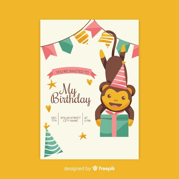 Hand drawn birthday invitation template Vector | Free Download