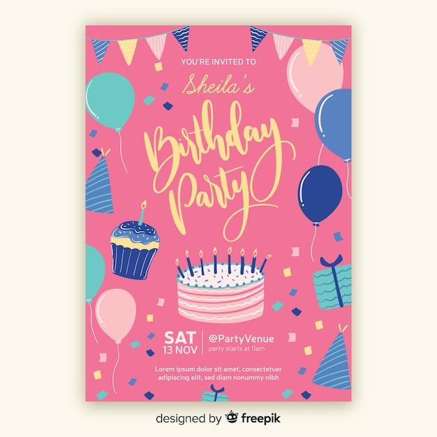 Hand Drawn Birthday Invitation Template Vector Free Download
