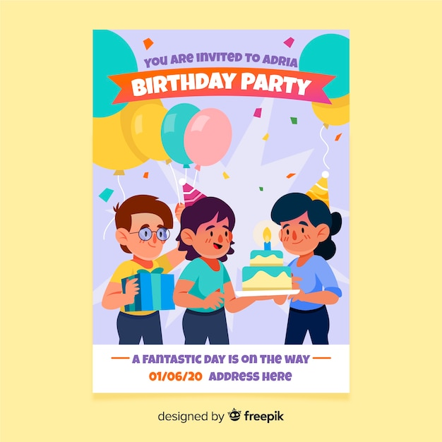 Hand Drawn Birthday Invitation Template Vector