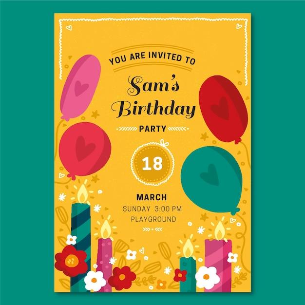 Modello di invito compleanno disegnato a mano Vettore gratuito