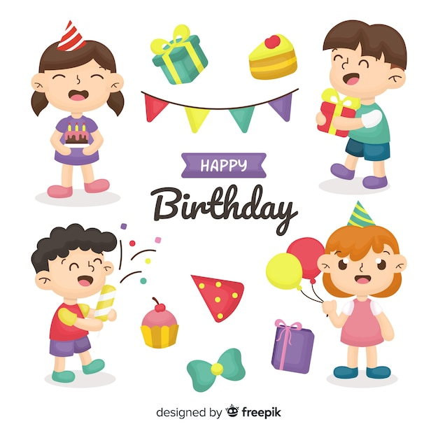 Hand drawn birthday kids collection Free Vector