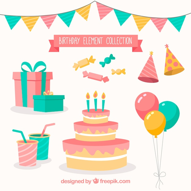Hand drawn birthday party attributes Free Vector