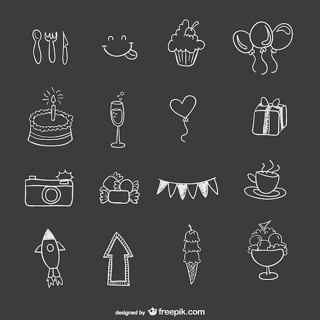 Hand drawn birthday party elements Vector Free Download