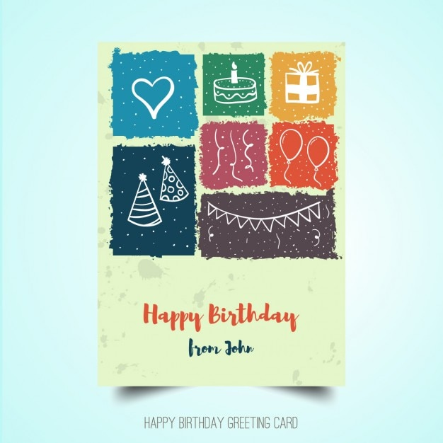 Hand drawn birthday poster Free Vector