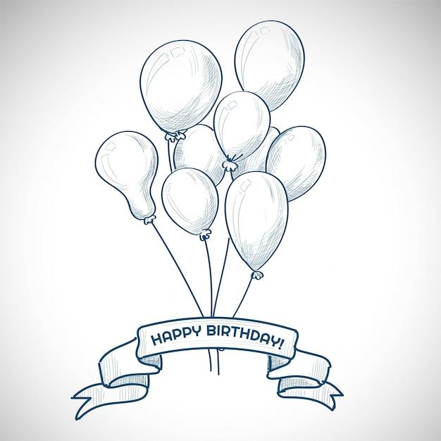 Ручной обращается день рождения с воздушными шарами эскиз фона Бесплатные векторы