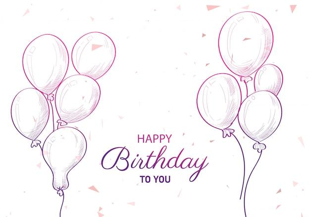 Compleanno disegnato a mano con palloncini schizzo sfondo Vettore gratuito