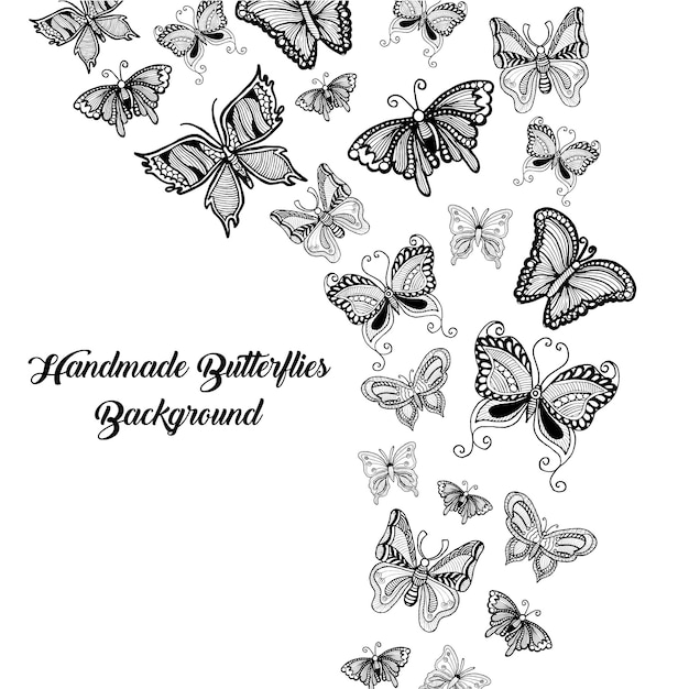 Hand drawn black and white butterflies background Vector ...