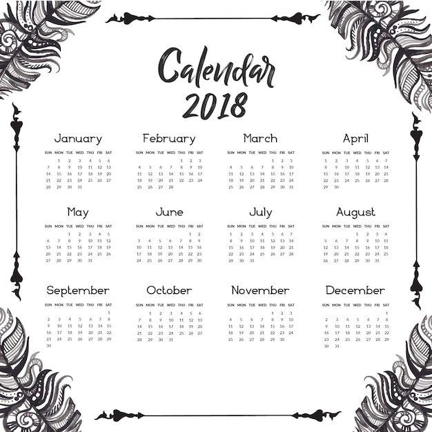 Calendar Black And White : Hand drawn black and white feather calendar vector