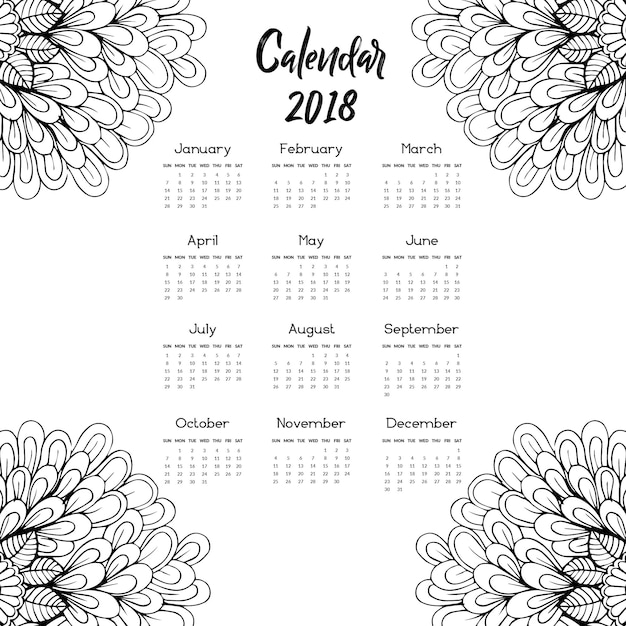 Hand drawn black and white floral calendar 2018