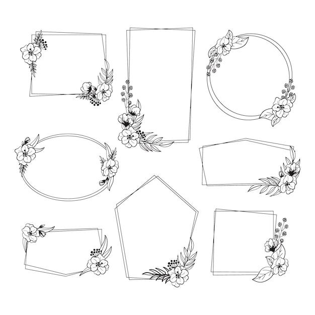 Коллекция рисованной черно-белой цветочной рамки Premium векторы