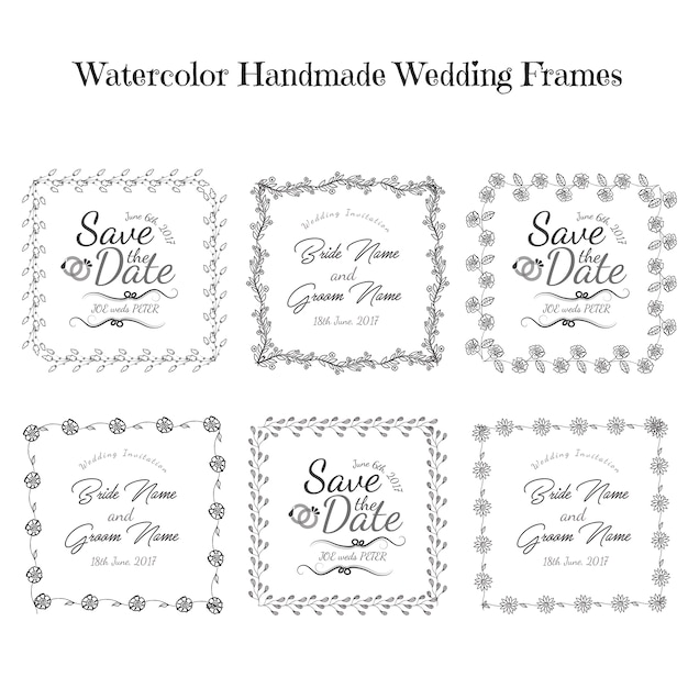 Hand Drawn Black And White Floral Wedding Invitation Frames Vector