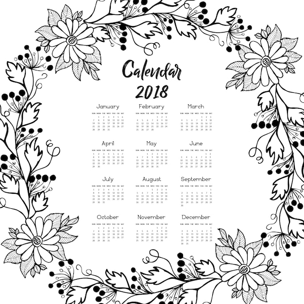 February 2018 Calendar Vintage : Hand drawn black and white floral wreath calendar