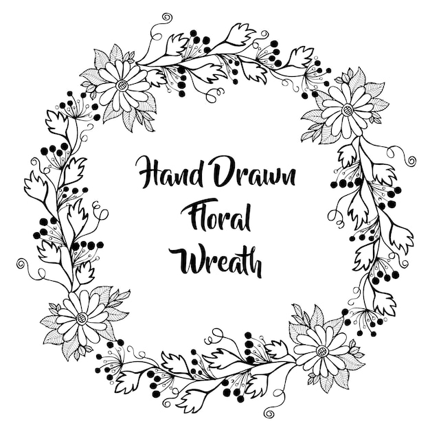 Hand drawn black and white floral wreath vector free download hand drawn black and white floral wreath free vector mightylinksfo