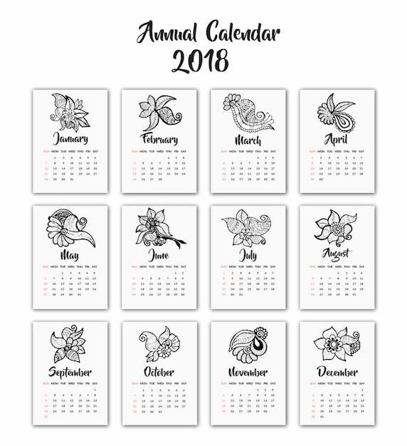 Hand Drawn Black And White Henna Design Calendar 2018 Stock Images