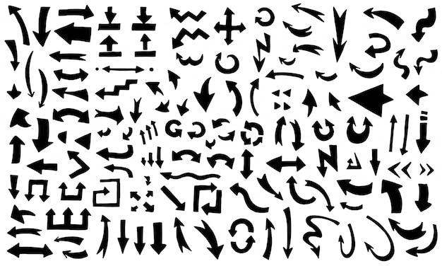 Hand drawn black arrows set. modern sketch arrow collection handmade doodle style Premium Vector
