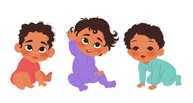手描きの黒い赤ちゃんのコレクション 無料ベクター